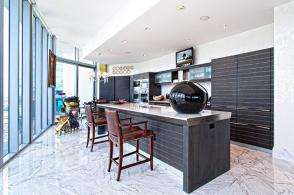 Contemporary Kitchen With White Marble