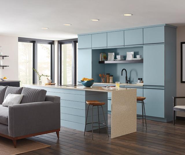 Contemporary Aqua Kitchen Cabinets