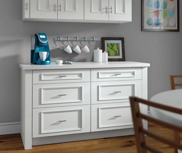 White Cabinets Cup Storage