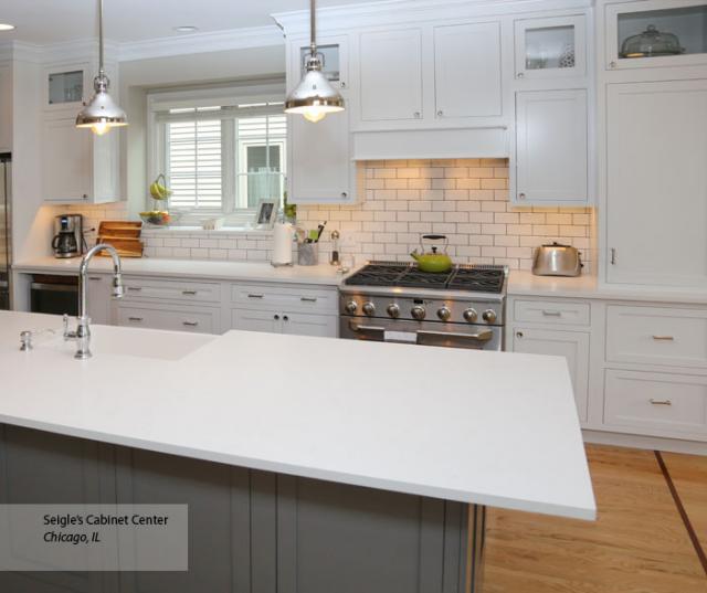 White Inset Cabinets Gray Kitchen Island