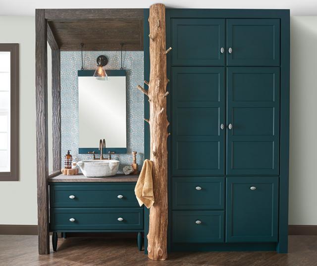 Teal Green Bathroom Vanity Storage Cabinets