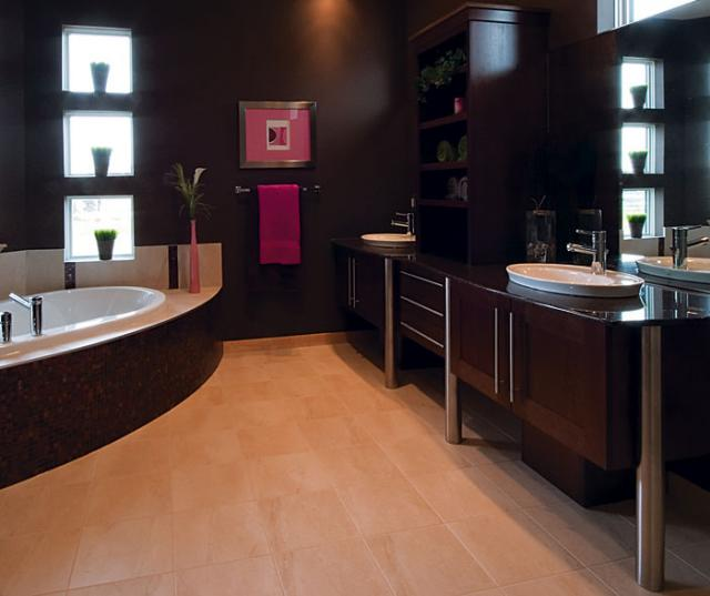 Contemporary Bathroom Cabinets in Dark Maple Finish