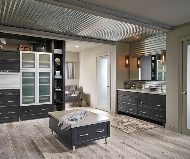 Dark Gray Cabinets Casual Bathroom