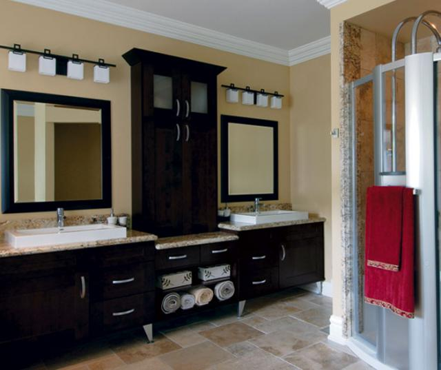 Espresso Shaker Cabinets in Contemporary bathroom