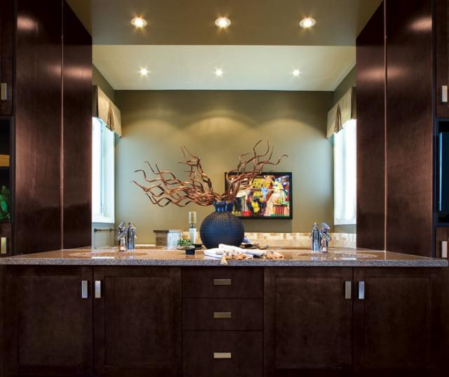 Espresso Shaker Cabinets in bathroom