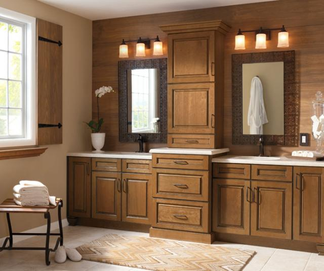 Glazed Cabinets in Casual Bathroom