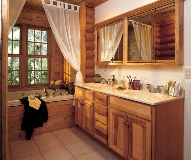 Natural Hickory Cabinets in a Rustic Bathroom