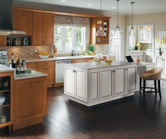 Warm Maple Wood Cabinets White Kitchen Island