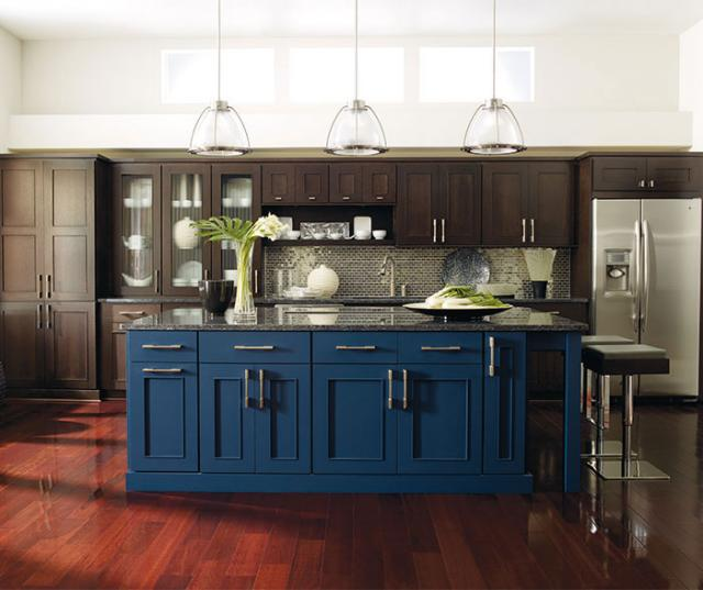 Dark Wood Cabinets Blue Kitchen Island